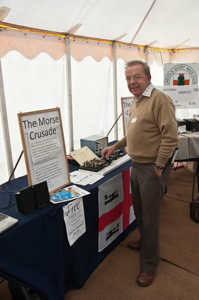 Visitor Trying Out the Morse Keys at the Morse Crusade Stand
